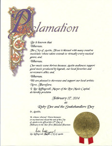 Official Ruby Dee And The Snakehandlers Day Proclamation